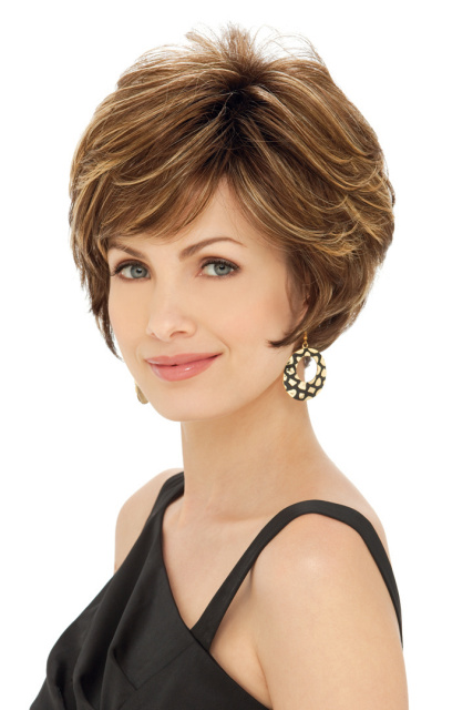 True (short hair) Shown in wig display.
